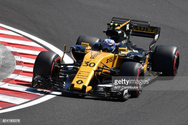 Renault's British driver Jolyon Palmer races during a free practice session at the Hungaroring racing circuit in Budapest on July 29 2017 prior to...