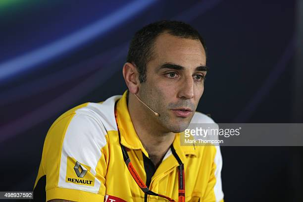 Renault's Cyril Abiteboul speaks at a press conference after practice for the Abu Dhabi Formula One Grand Prix at Yas Marina Circuit on November 27...