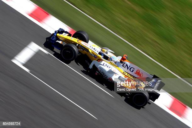 Renault's Fernando Alonso during a practice session at MagnyCours Nevers France