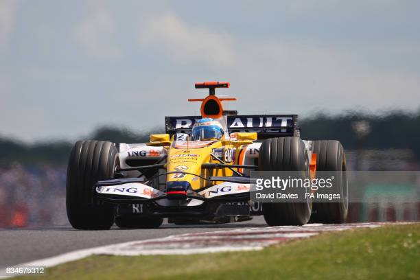 Renault's Fernando Alonso during second practice at Silverstone Northamptonshire