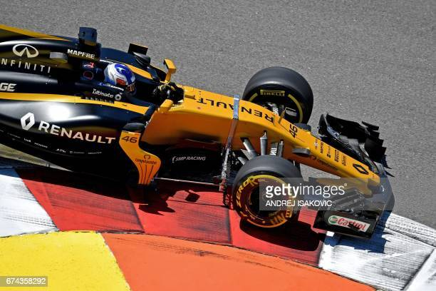 TOPSHOT Renault's Russian reserve driver Sergey Sirotkin steers his car during the first practice session of the Formula One Russian Grand Prix at...