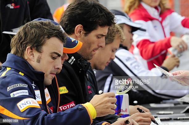 Renault's Spanish driver Fernando Alonso Red Bull's Australian driver Mark Webber Red Bull's German driver Sebastian Vettel and Williams' German...