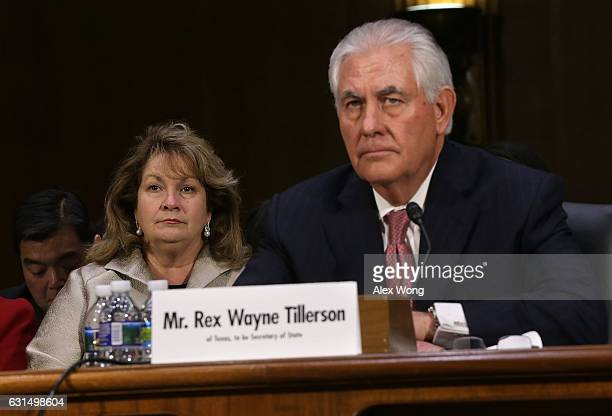 Renda Tillerson listens during the confirmation hearing for her husband and former ExxonMobil CEO Rex Tillerson US Presidentelect Donald Trump's...
