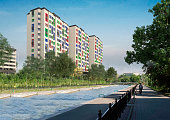 Render Apartment towers in the city - modern residential buildings with low energy house standard.