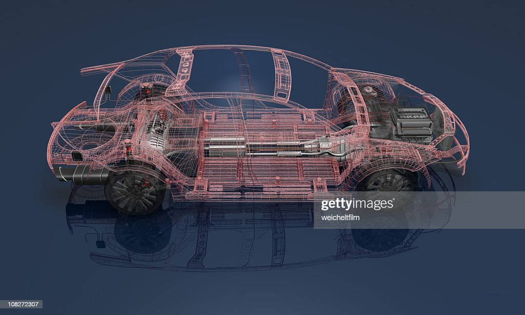 3D render of a wireframe car on a blue background : Stock Photo