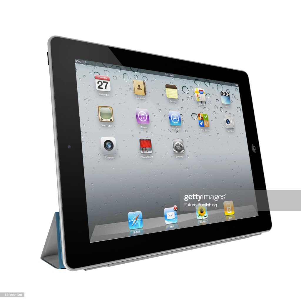 3D render of an Apple iPad 3 tablet and smart cover on a white studio background, March 28, 2012.
