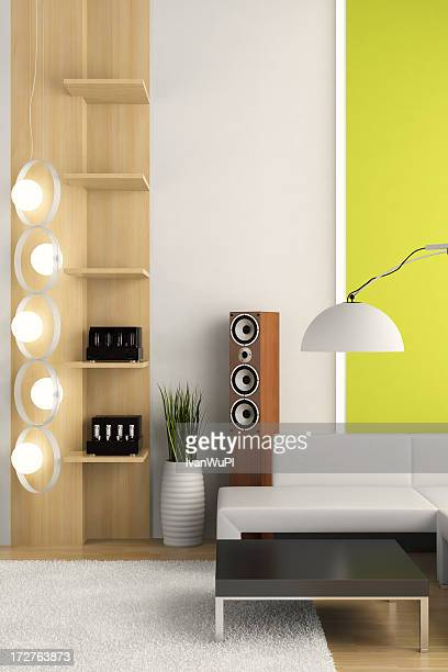 Render of apartment interior with modern fixtures