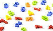 Colorful plastic number isolated on white - math and play time. Childhood education concept photo.
