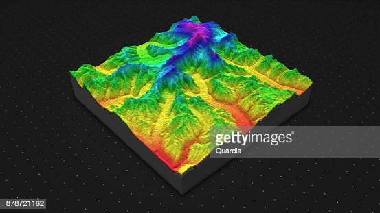 3D render of geology, soil slice, mountains isolated on dark background. : Stock Photo