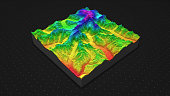 cross section topology of ground relief with mountains and meadows.