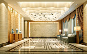 3D Render of luxury hotel entrance