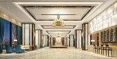 3D Render of luxury hotel lobby, entrance.