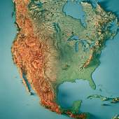 3D Render of a Topographic Map of the USA. All source data is in the public domain. Color texture: Made with Natural Earth.  http://www.naturalearthdata.com/downloads/10m-raster-data/10m-cross-blend-h