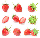 3d rendering a set, collection of fresh strawberry fruits isolated on white background
