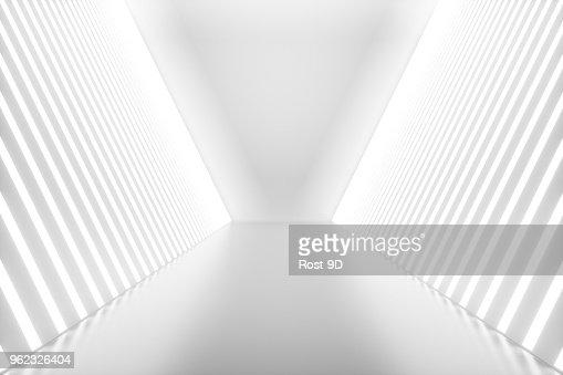 Rendu 3D abstrait salle intérieur avec néons. Contexte de l'architecture futuriste. Maquette pour votre projet de conception : Photo