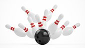 3D rendering Bowling Ball crashing into the pins on white background.