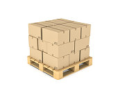 3d rendering cardboard boxes on wooden palette, isolated on white background. Construction and industry. Cargo and delivery. Transport and logistics.
