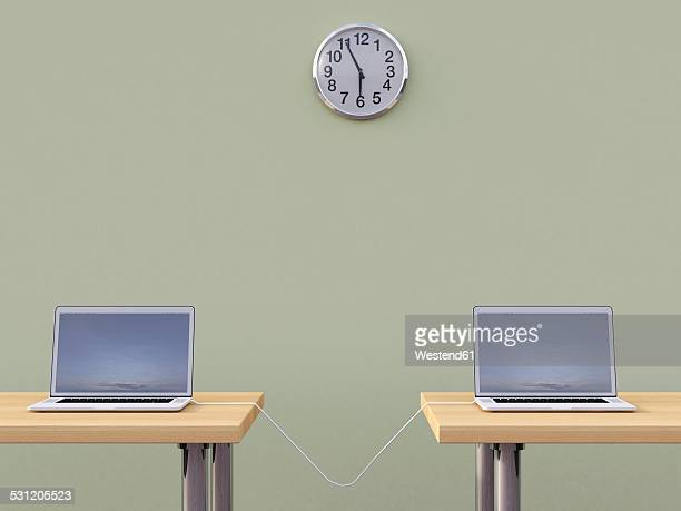 3D rendering, Connected laptops under wall clock