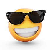 3D Rendering cool emoji with sunglass isolated on white background.