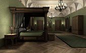 3D rendering of a gothic medieval style dark palace