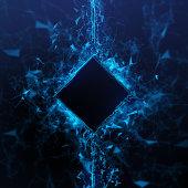 Rendering Energy Cube Hologram on black background. Energy stream Hologram
