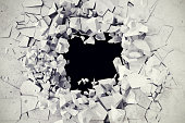 3d rendering, explosion, broken concrete wall, bullet hole, destruction abstract background