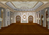 3D digital render of a beautiful retro ballroom in a palace