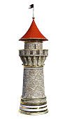 3D rendering of a fairy tale tower isolated on white background