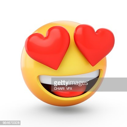 3D Rendering falling in love emoji isolated on white background : Stock Photo
