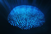 3D rendering Fingerprint Scanning Identification System. Fingerprint scan provides security acces