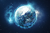 3D Rendering Global Network Background. Connection Lines with Dots Around Earth Globe. Global International Connectivity. Earth from Space With Stars and Nebula. Elements of this image furnished by NA