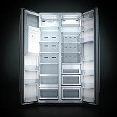 3d rendering big fridge on a dark background with an open door