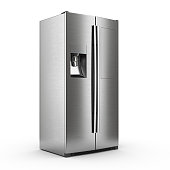 3d rendering big fridge on a white background