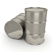 3D rendering Shiny chrome barrels on a white background