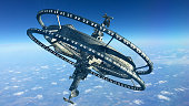 3d Illustration of a futuristic space station with multiple gravitational wheels in Earth's high atmosphere for games, exploration or SF backgrounds.