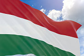 3D rendering of Hungary flag waving on blue sky background, Hungary is a landlocked country in Central Europe. Its capital is Budapest, 15 March is National Day