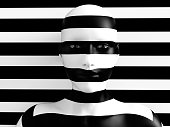 3D rendering of a womans face trying to blend in with the black and white striped background, afraid to show her true colours. She is standing with her head against the wall and hiding like a wallflow