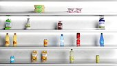 Supermarket white shelves with products