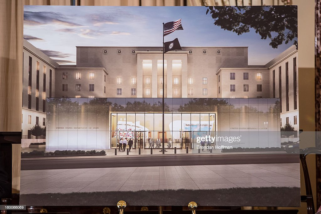 A rendering of the Diplomacy Center is displayed at an event marking its launch on January 25, 2013 in Washington, DC. The center will serve as a museum of diplomacy, housed at the Department of State.