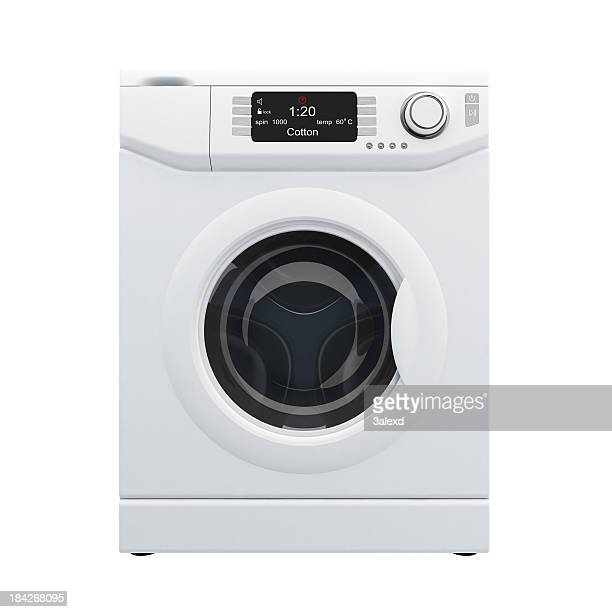 3D rendering of white washing machine, front view