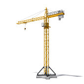 3d rendering of a yellow construction crane, side view, isolated on the white background. House-building and reconstruction. Building machinery and construction equipment. Lifting equipment and transp
