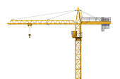 3D rendering of a yellow construction crane isolated on a white background. Construction. Tower crane. Modern form of balance crane. Type of machine equipped with a hoist rope, wire ropes or chains, a