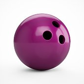 3D rendering purple bowling ball over a white background.