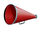 3D rendering of a red Loudspeaker isolated on white background