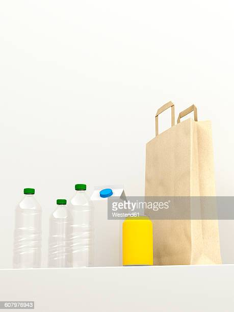 3D rendering, Re-usable plastic bottles and paper bag against white background