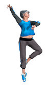 3D rendering of a senior woman exercising isolated on white background