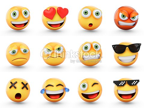 3D Rendering set of emoji isolated on white : Foto de stock