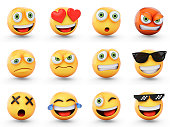 3D Rendering set of emoji isolated on white.