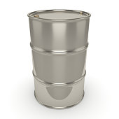 3D rendering Shiny chrome barrel on a white background