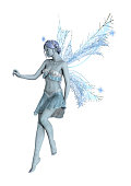3D rendering of a beautiful winter fairy isolated on white background
